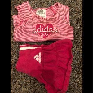 Adidas girls 3 mo athletic skirt and shirt set